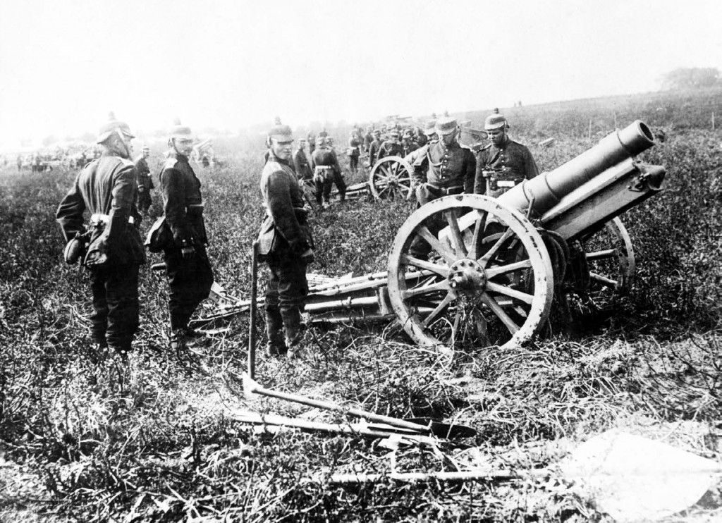 A German 5.9 inch howitzer. German artillery outranged French 75 guns during the Battle of the Frontiers