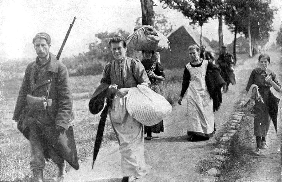 Belgian refugees on the road to Brussels