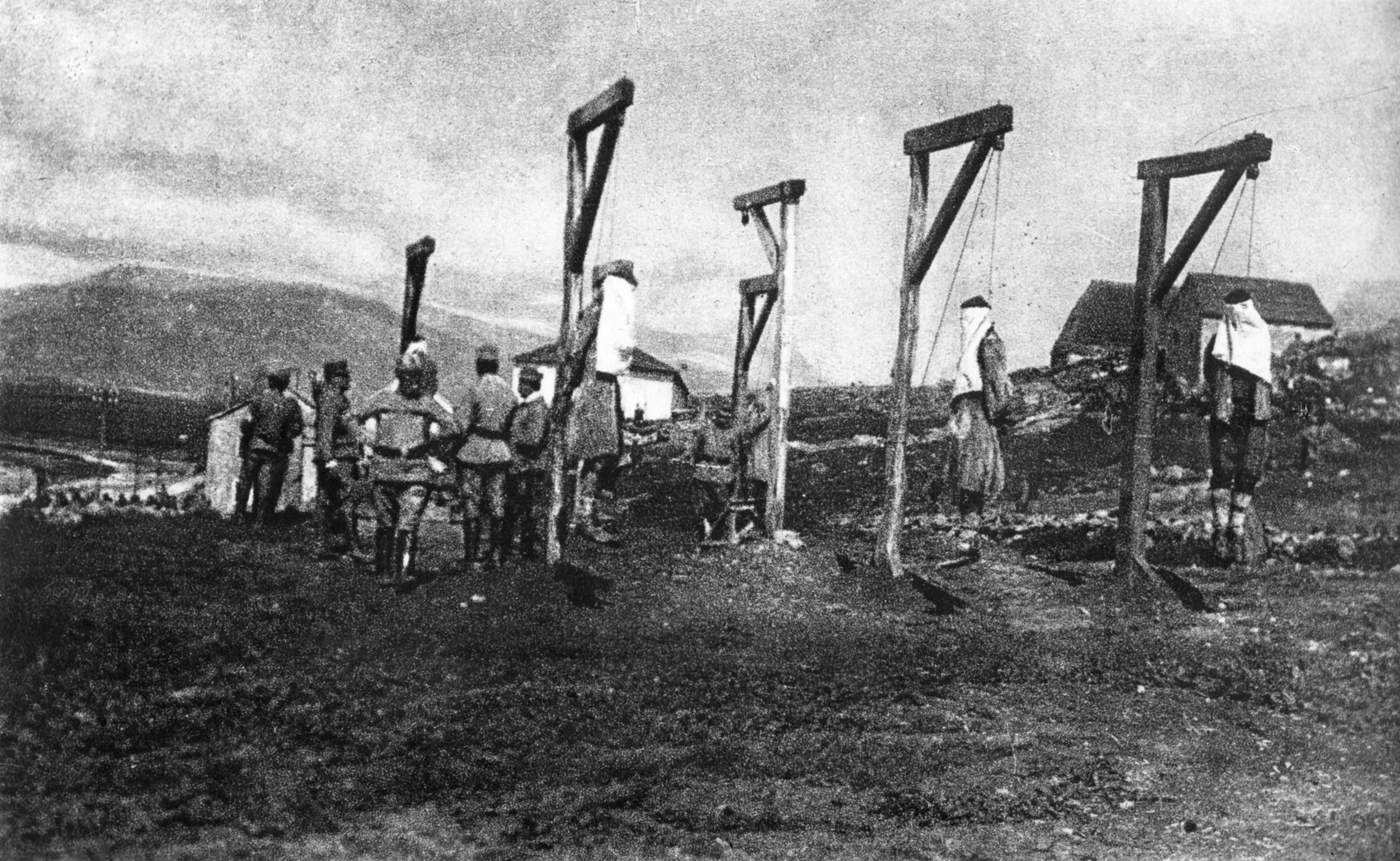 Serbian civilians hanged in reprisal. The Austrians recorded their acts as further intimidation
