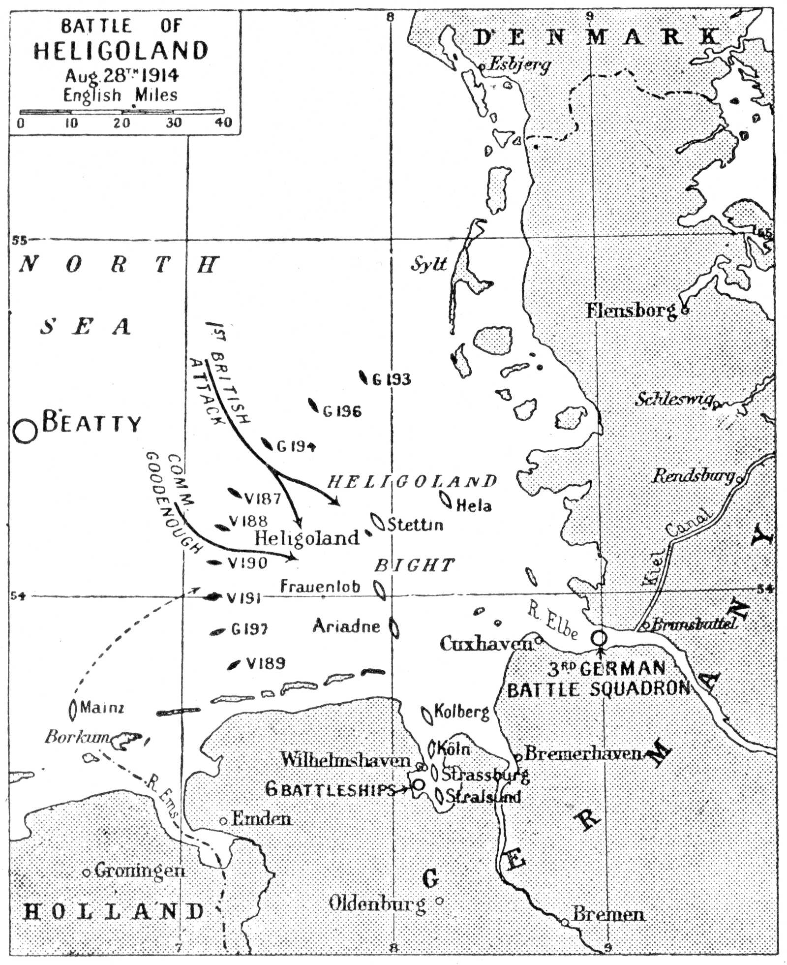 Map of the Battle of Heligoland Bight. Via Probert Encyclopedia