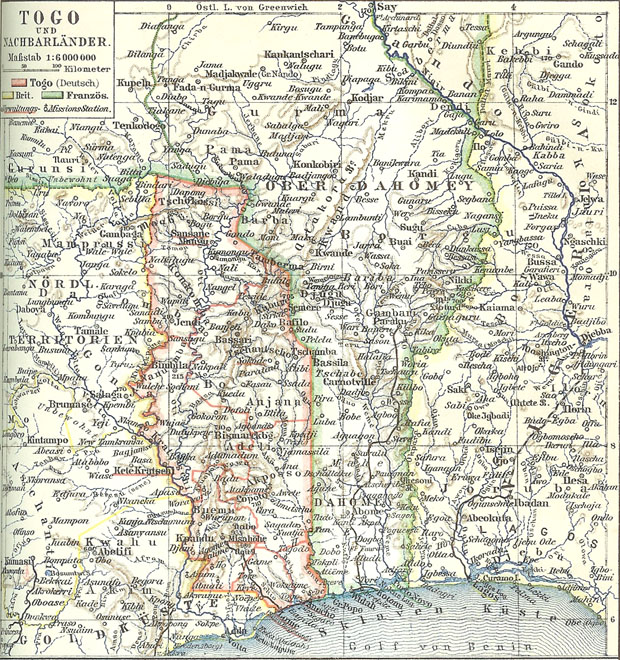 The Eastern slice of German Togoland later became part of modern-day Ghana.