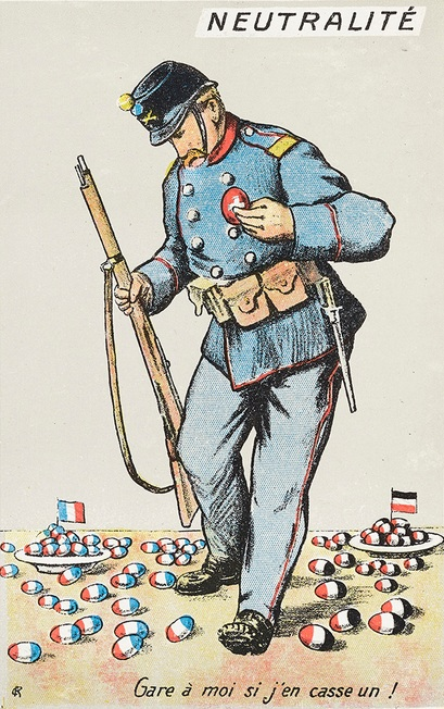 "Satirical postcard: surrounded by French and German eggs, a Swiss soldier says ""I need to look out in case I break one!"""