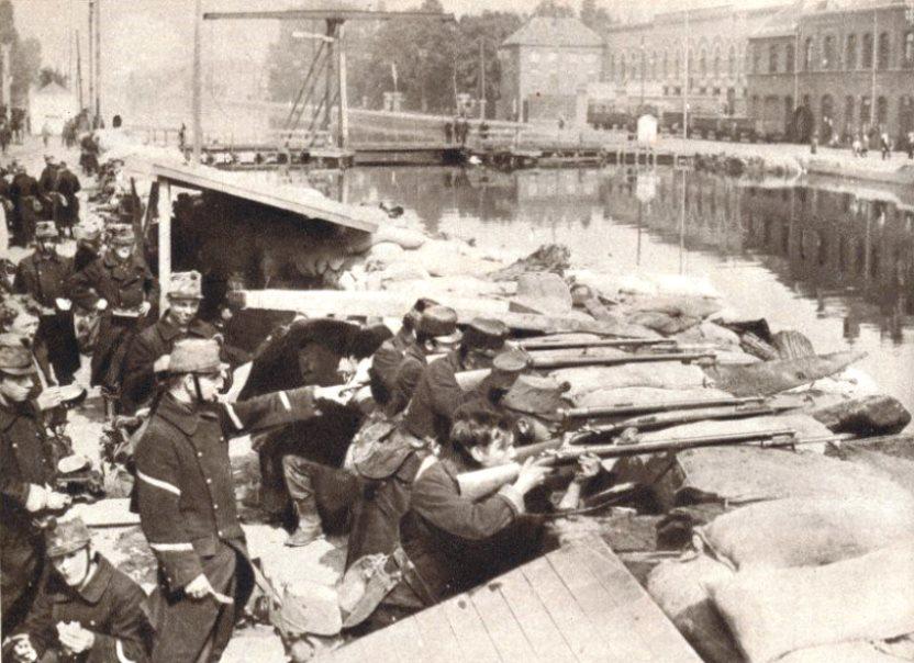 Belgian Soldiers Defending the Willebrock Canal in Antwerp 1914