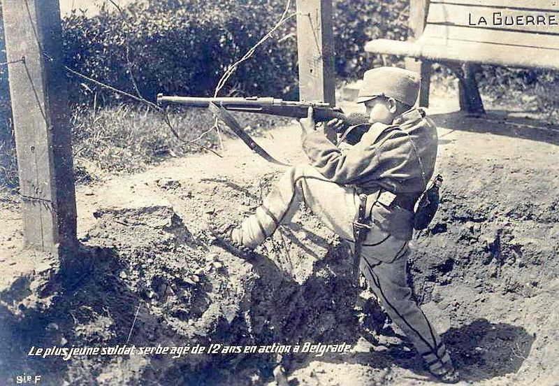 Twelve year-old Dragoljub Jelicic, one of the youngest soldiers of the Great War, wearing
