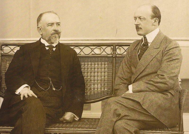 Italian Foreign Minister San Giuliano with Austrian Foreign Minister Leopold Berchtold in Croatia, April 1914