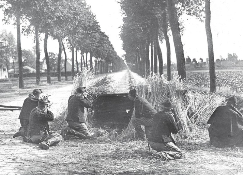 Belgian infantry defending a road to Antwerp