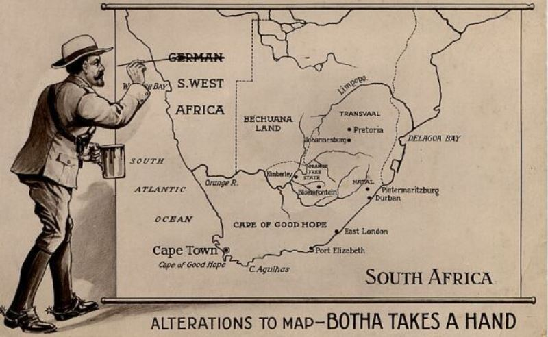 A political cartoon of Louis Botha's imperial ambitions