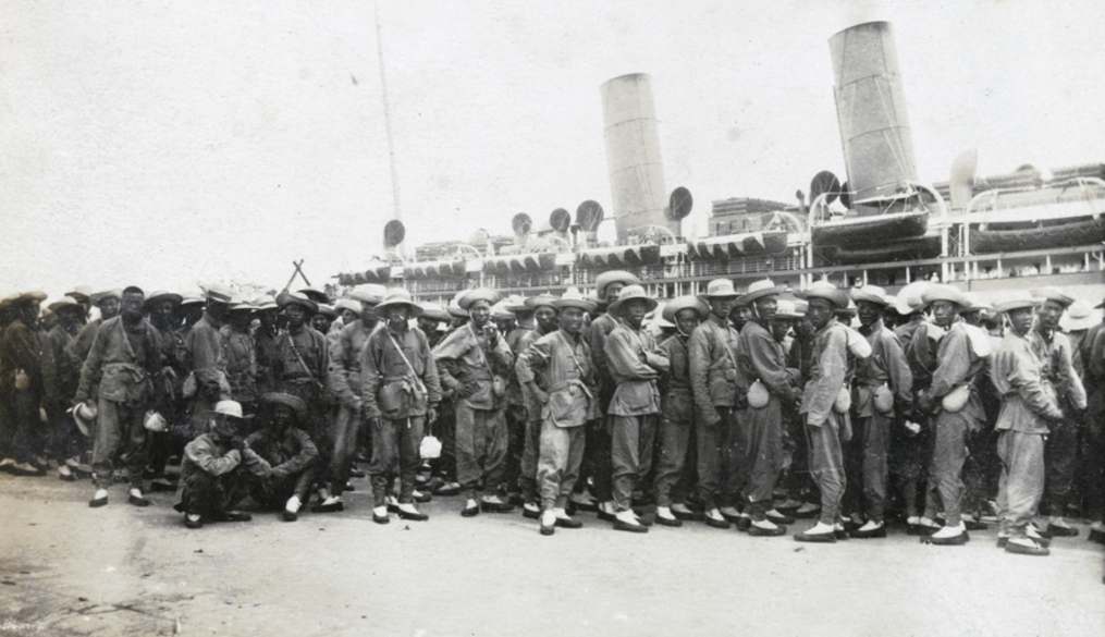 Chinese Labor Corps recurits arriving in France. Via the Lyons Institute