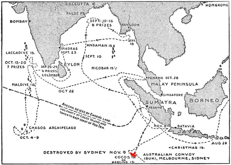 A map of the Emden's outrageously successful diversionary cruise in the Indian Ocean