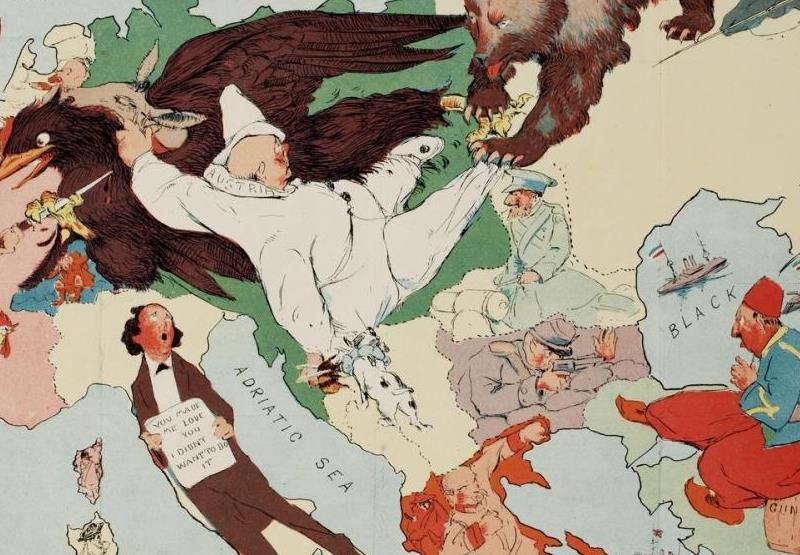 A study of a political cartoon from 1914 reveals incorrect assumptions about the strategic calculus of three countries