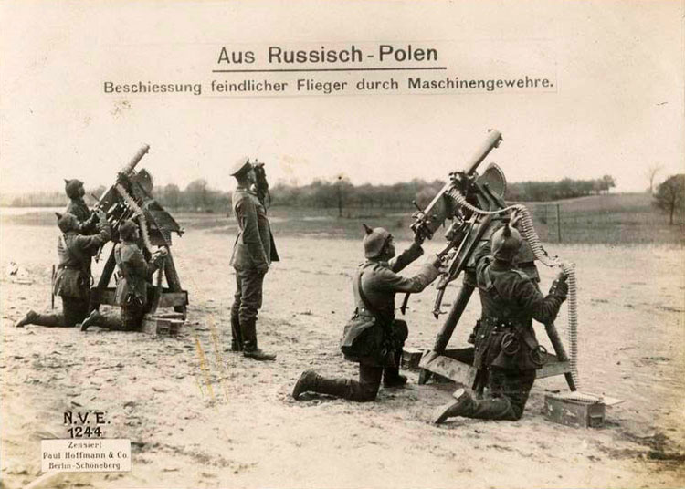 A German machine gun battery being used for anti-aircraft duties on the Eastern Front