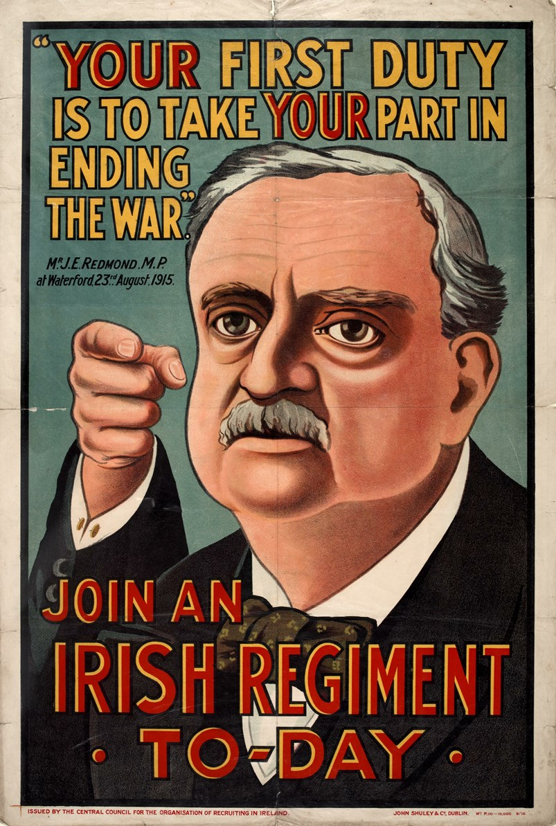 John Redmond tells his fellow Irishmen to enlist