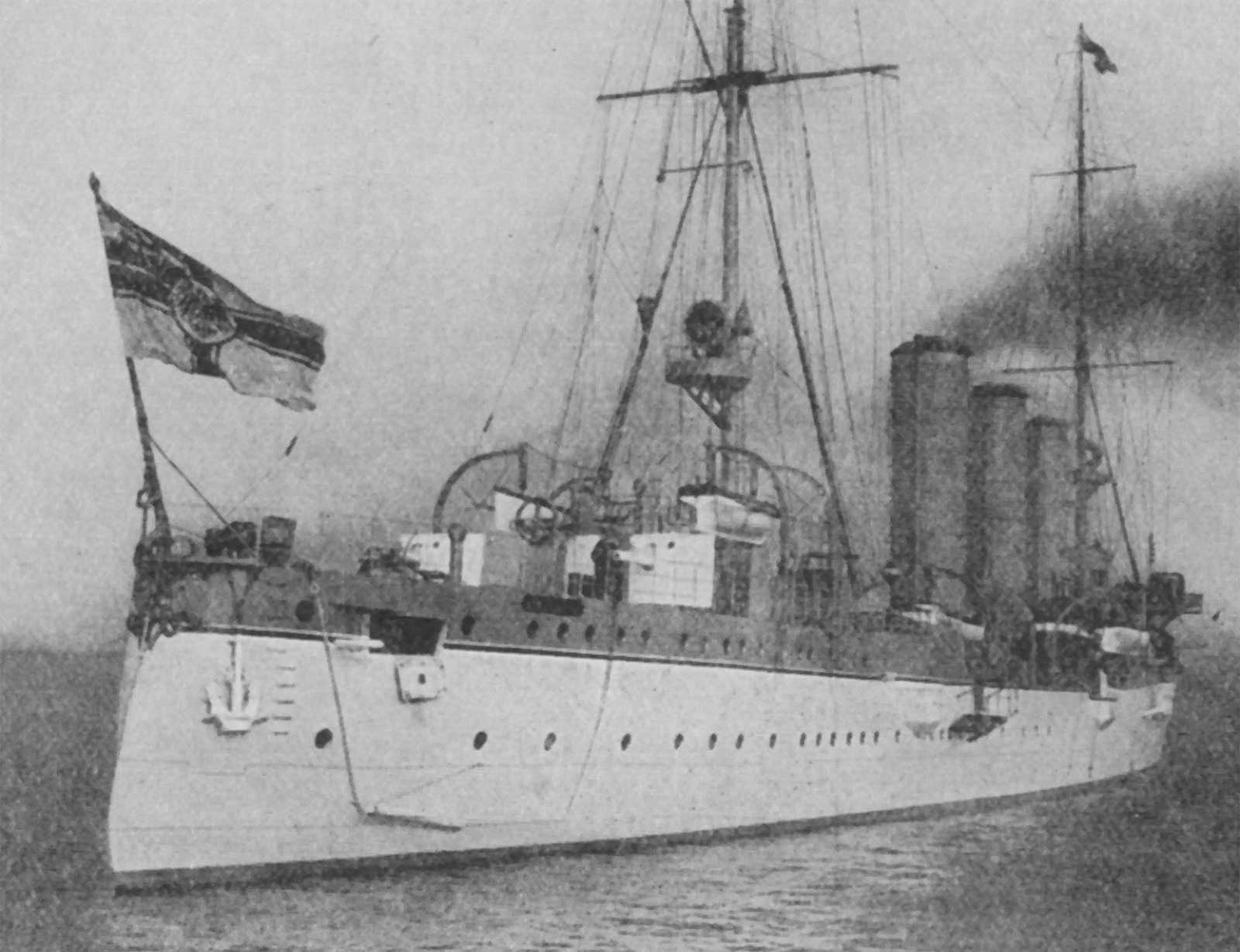 SMS Königsberg, the cruiser that surprised the HMS Pegasus in repairs