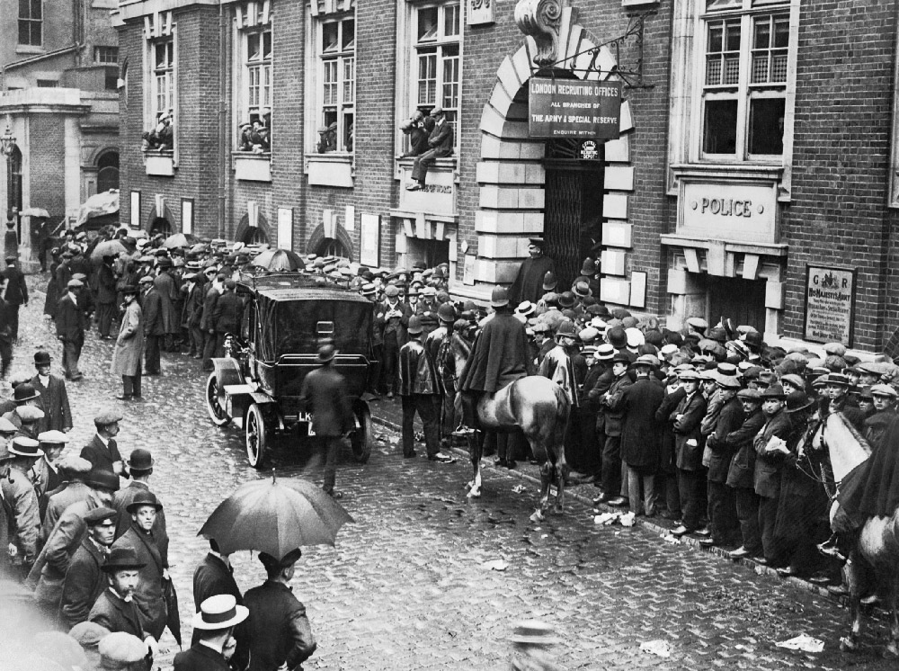 British recruiting stations stayed busy throughout the war, even after conscription