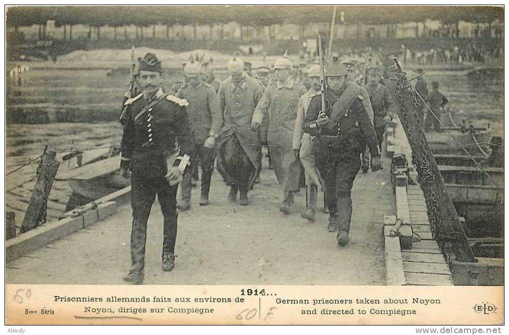 A postcard of German prisoners taken at Noyon