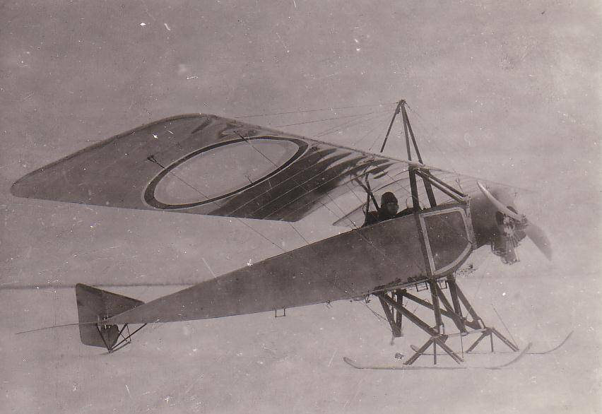 Fitted with skis for landing on Winter ice, this Russian plane has big wing markings intended to be visible from the ground