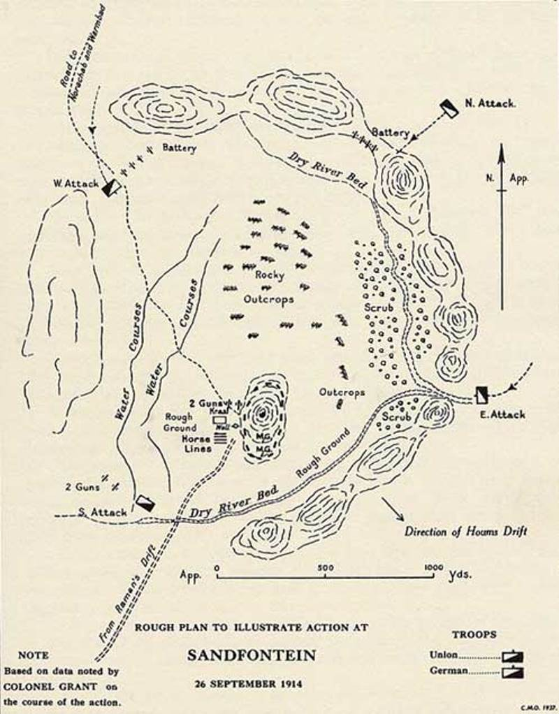 A map of the Battle of Sandfontein