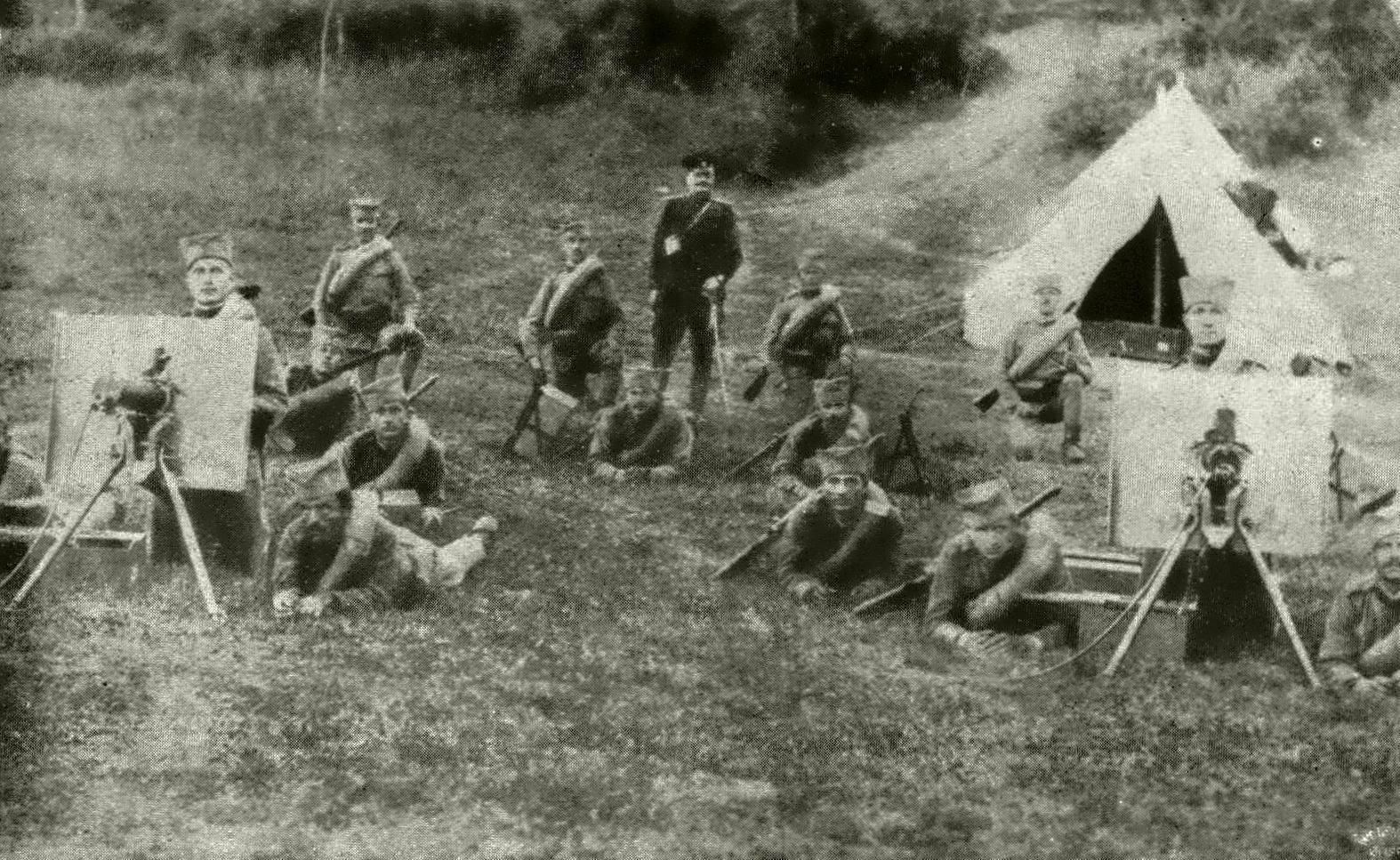 Serb machine gun crews