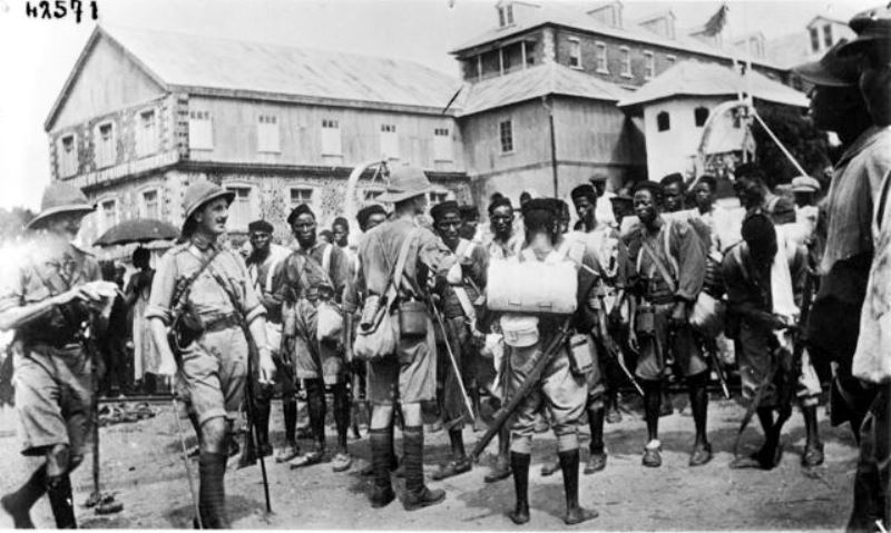 Allied troops embarking for Kamerun at Freetown, Liberia