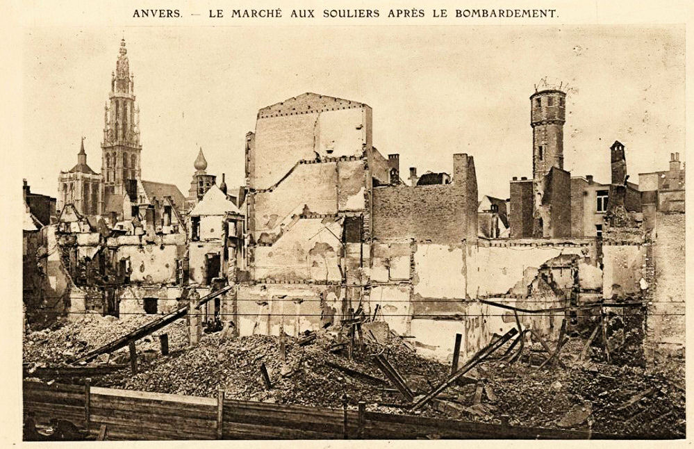 A picture postcard of the damage to Antwerp from the German bombardment