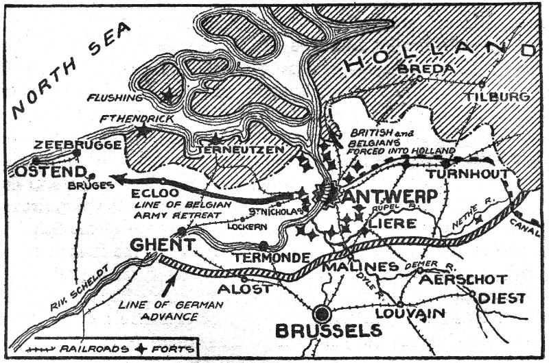 A map showing the escape routes for Belgian and British troops. Those who did not make it out heading west had to enter neutral Holland and be interned for the war's duration