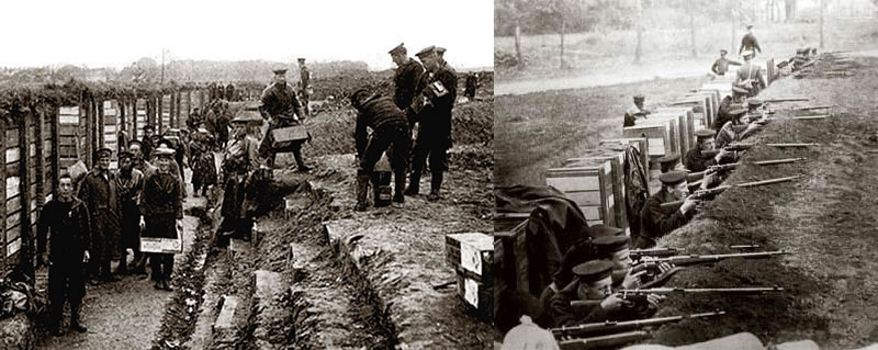 Before and after: Royal Marines construct a trench out of crates