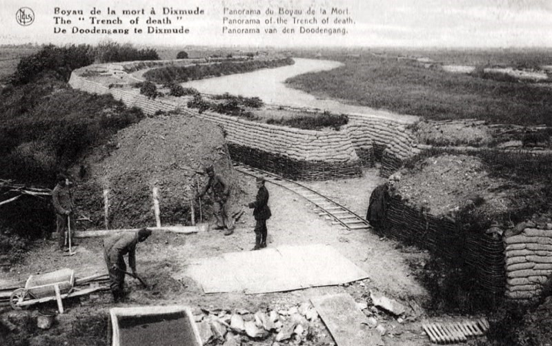 The infamous 'Death Row' trench during construction of a light rail system for resupply