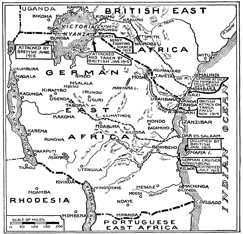 A map of the East African campaign