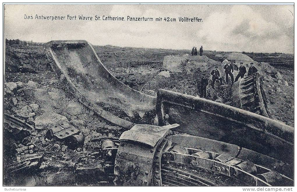 A postcard photograph of Fort Wavre Sainte Catherine, destroyed by a direct hit from a Big Bertha gun