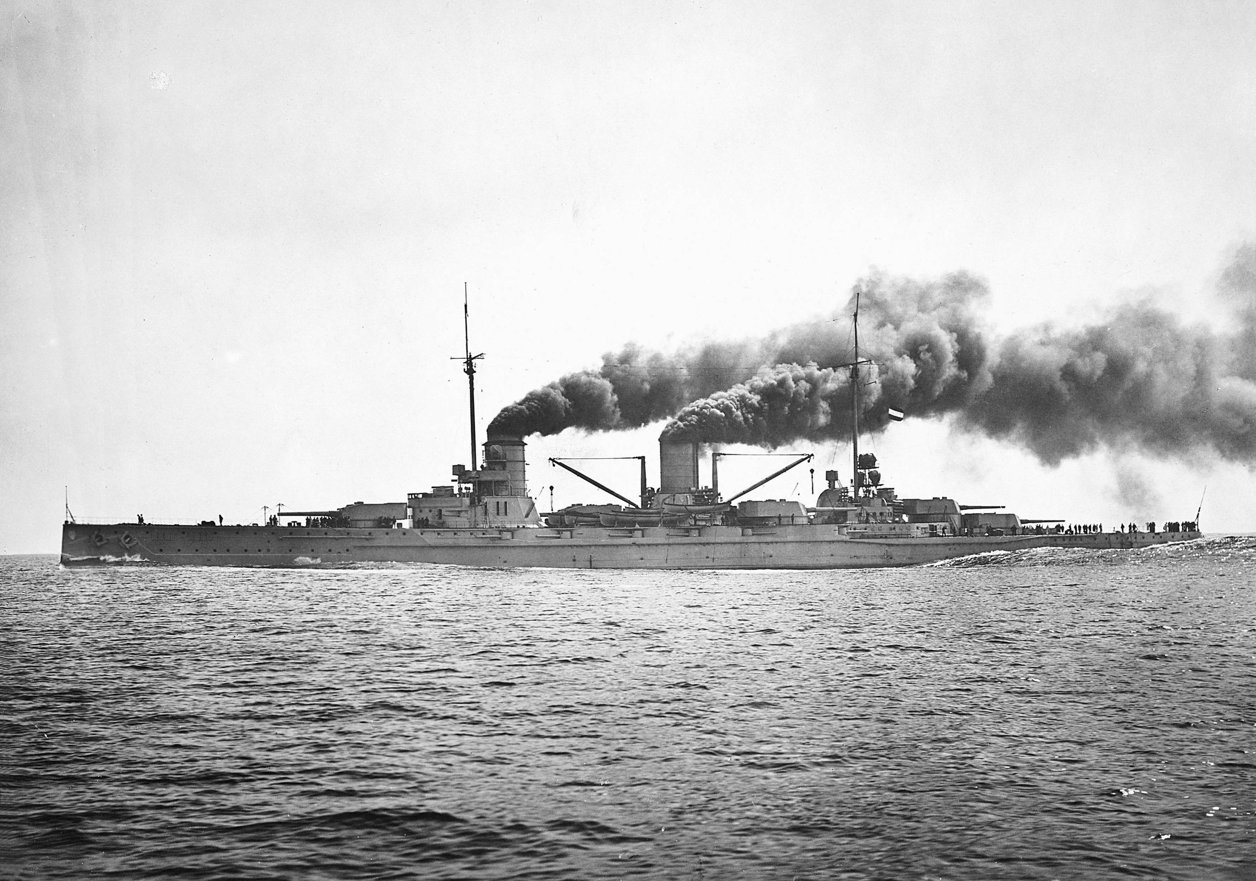 The SMS Goeben, one of two German cruisers that escaped a British dragnet to serve the Ottoman Navy