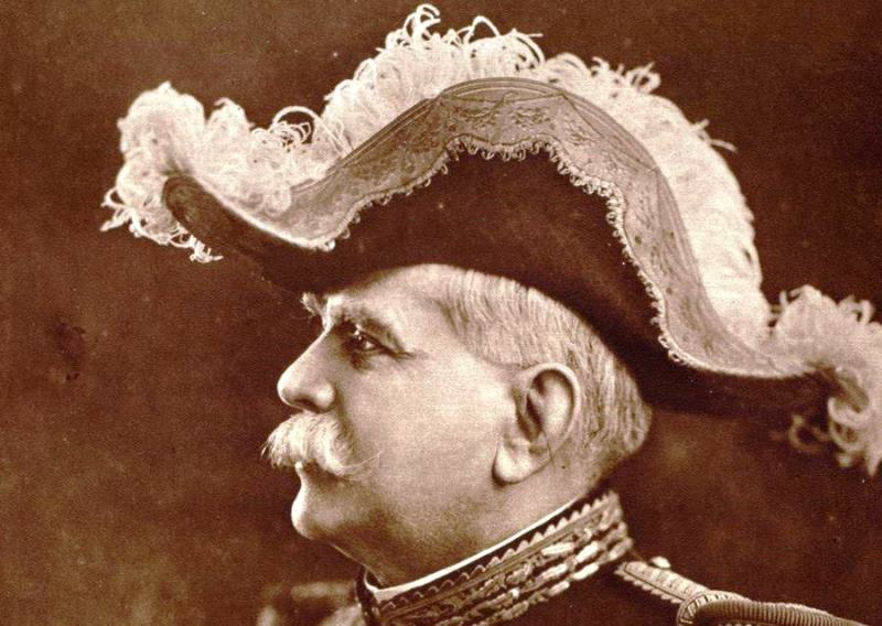 Joffre's finest hat, worn only at official functions, was a relic of the 19th century