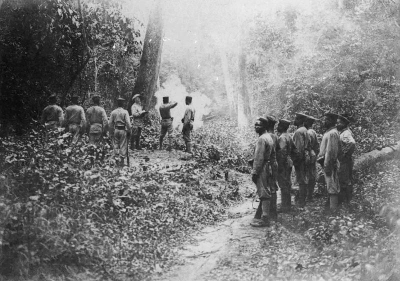 Schutztruppen training in the jungle ca. 1910