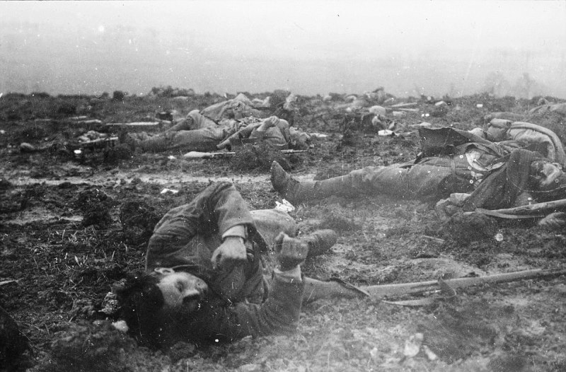 German dead at Verdun. Falkenhayn's strategy of attrition would bleed Germany as much as France