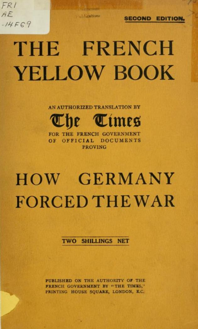 The front cover of the second French 'Yellow Book'