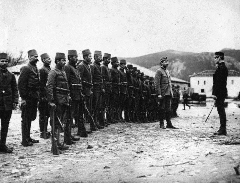 Albanian infantry drill in the Adriatic port city of Vlora, 1915