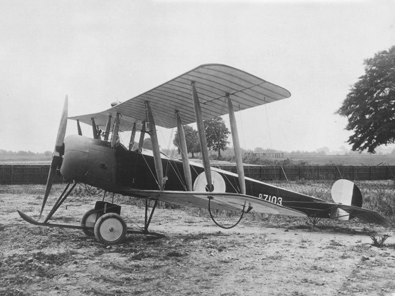 An Avro 504 biplane like the ones flown in today's raid