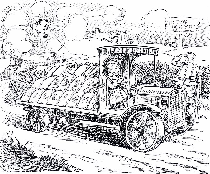 A cartoon published in yesterday's edition of the Western Mail shows Lloyd George delivering wartime financing to the front