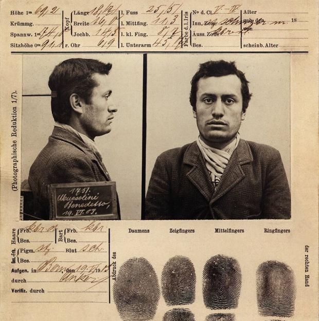 Benito Mussolini's mug shot from his 1903 arrest in Bern, Switzlerland