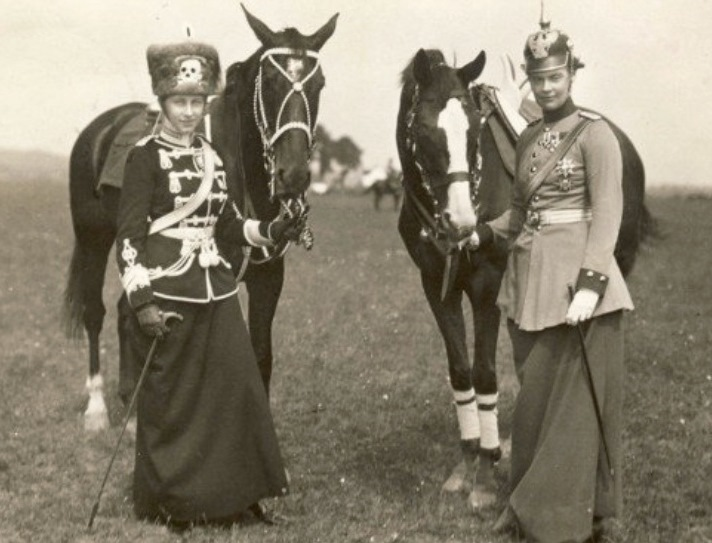 The Kaiser's daughter, Princess Viktoria Louise, ceremonial colonel-in-chief of the 2nd Hussars Regiment, wearing the same hat