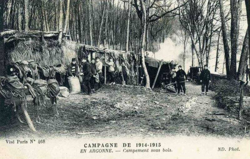 A camp in the Argonne trenches. Note that it's on the reverse-slope of a hill
