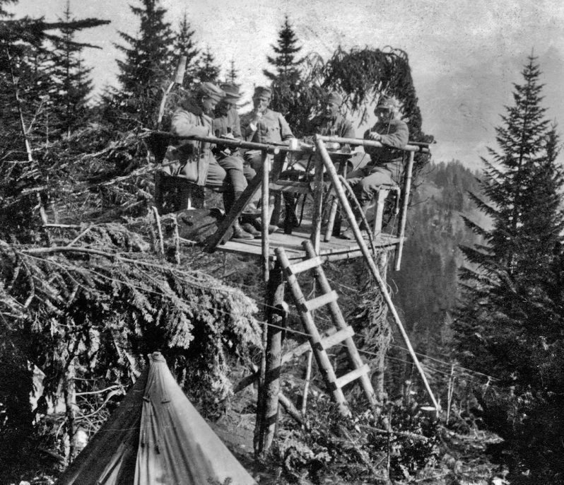 An observation in the Carpathian Mountains, date unknown. Note the wireless operator with headphones on the right