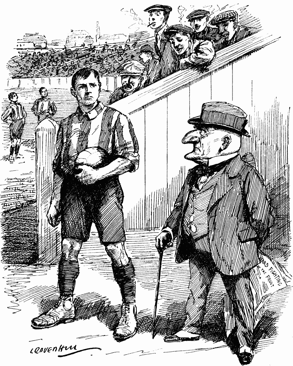 """Mr. Punch (to Professional Association Player). """"NO DOUBT YOU CAN MAKE MONEY IN THIS FIELD, MY FRIEND, BUT THERE'S ONLY ONE FIELD TO-DAY WHERE YOU CAN GET HONOUR."""""""