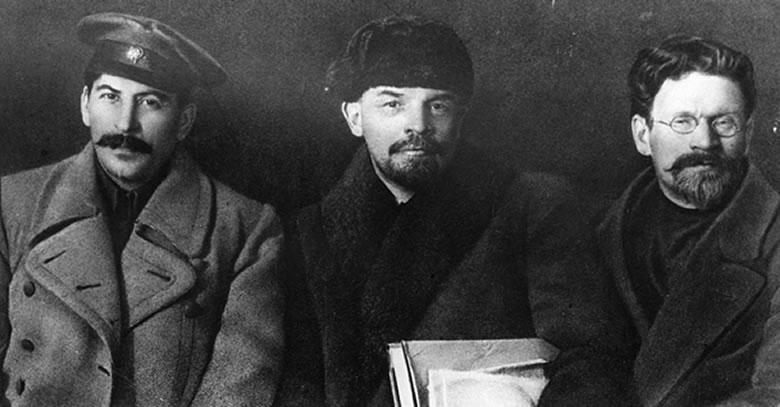 L to R: the names Joseph Stalin, Vladimir Lenin, and Leon Trotsky