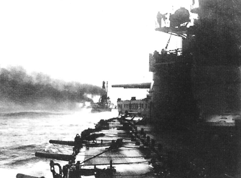 A photo of the German battlecruisers sailing in line during the raid on Yarmouth
