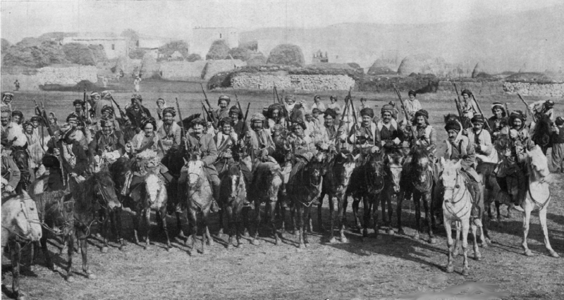 A New York Times photo from January 1915 of Kurdish cavalry that participated in the Battle of Ardahan