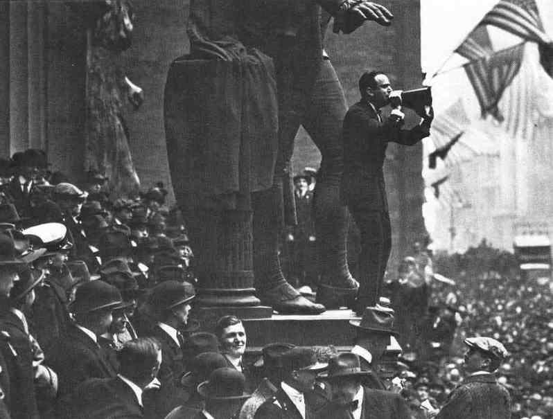 Actor Douglass Fairbanks selling war bonds in a 1918 Wall Street rally
