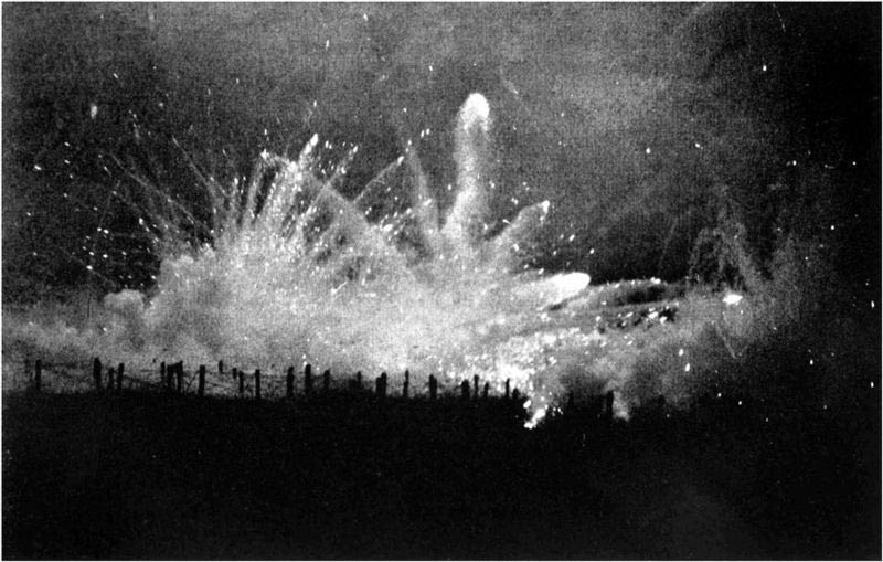 A German night barrage during one of the battles for Ypres