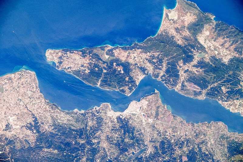 A satellite photo of the Dardanelles Strait