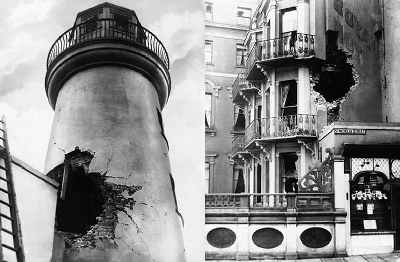 Left: exterior damage to the Royal Scarborough Hotel. Right: shell damage to the lighthouse