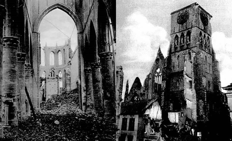 Two views of the ruined cathedral from late October or November already show catastrophic damage